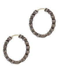 Shebee - Metallic Mini Sapphire Hoop Earrings - Lyst