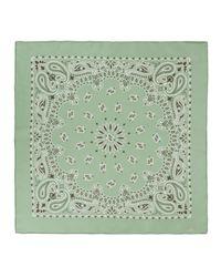 Manipur - Green Bandana Print Sage Silk Square Scarf - Lyst