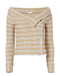 IRO | Blue Vana Striped Off-the-shoulder Knit Jacket | Lyst
