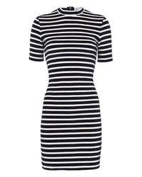 T By Alexander Wang Blue Stripe Velvet Dress