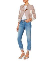 Yigal Azrouël | Blue Lace Blush Moto Jacket | Lyst