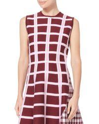 Victoria Beckham - Red Intarsia Wide Stripe Kick Dress - Lyst