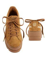 PUMA - Metallic Cleated Brown Suede Creeper Sneakers - Lyst