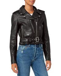 Re/done - Vintage Black Leather Moto Jacket - Lyst