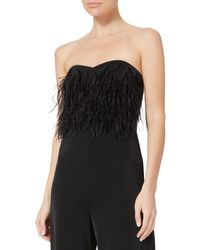 Saloni Black Aurelie Strapless Feathered Jumpsuit