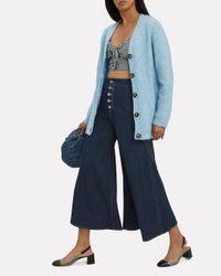 Paper London Blue Kelly Crop Flare Trousers