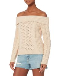 Intermix - Natural Off Shoulder Cable Knit Sweater - Lyst