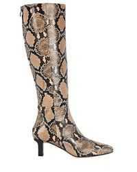 Aeyde Natural Cicely Python-embossed Knee-high Boots