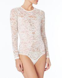 Fleur du Mal Chat Noir White Lace Bodysuit