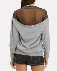 Alexander Wang Gray Sheer Peelaway Pullover