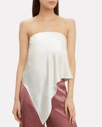Michelle Mason White Asymmetrical Bustier Top