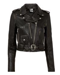 Re/done Vintage Black Leather Moto Jacket