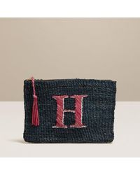 Jack Rogers Pink Initial Straw Pouch- Letter H