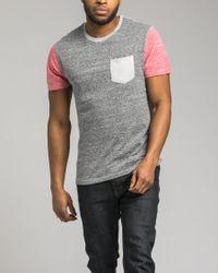 Retrofit - Gray Contrast Pocket Tee for Men - Lyst