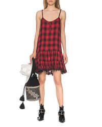 True Religion Checkered Flounce Embroidery Red
