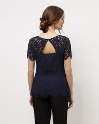 Jaeger - Blue Open Back Lace Top - Lyst