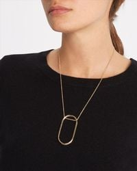 Jaeger - Metallic Oblong Drop Necklace - Lyst