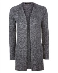 Jaeger | Gray Wool Ribbed Split Hem Cardigan | Lyst
