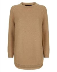 Jaeger | Natural Wool Curved Hem Sweater | Lyst