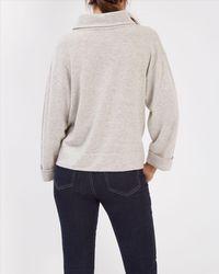 Jaeger - Gray Wool Funnel Neck Sweater - Lyst