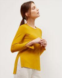 Jaeger | Yellow Jersey Split-sleeve Top | Lyst