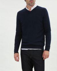 Jaeger Blue Merino V Neck Sweater for men