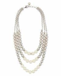 Jaeger - Metallic 3 Row Big Pearl Necklace - Lyst