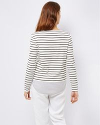 Jaeger - White Jersey Woven Stripe Top - Lyst