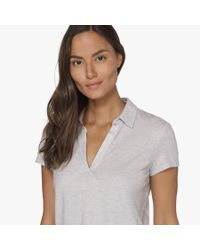James Perse - White Textured Cationic Polo Tee - Lyst