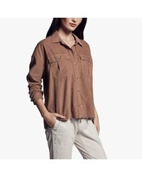 James Perse Brown Boxy Cord Military Shirt