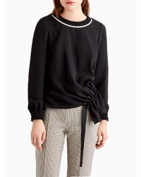 Jason Wu | Black Long Sleeve Top With Ribbed Collar | Lyst