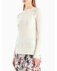 Jason Wu - White Merino Silk Crew Button Detail Sweater - Lyst