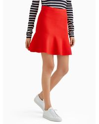Jason Wu - Red Viscose Fit And Flare Mini Knit Skirt - Lyst