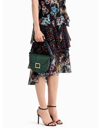Jason Wu Black Printed Chiffon Floral Ruffle Skirt