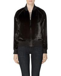 J Brand - Velvet Pace Bomber Jacket In Black - Lyst