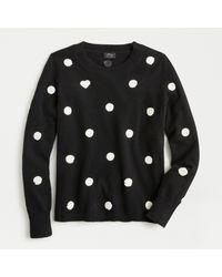 J.Crew Black Everyday Cashmere Crewneck Sweater In Sequin Polka Dots