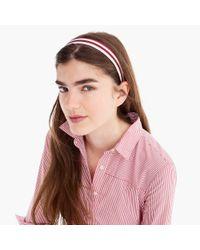 J.Crew - Pink Striped Grosgrain Headband - Lyst