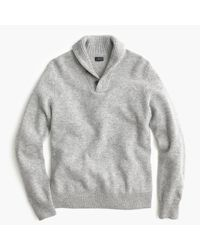 J.Crew - Gray Lambswool Shawl-collar Sweater for Men - Lyst