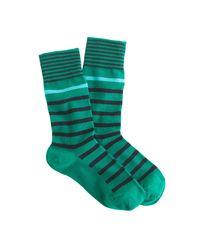 J.Crew | Green Mixed-stripe Socks | Lyst