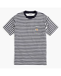 Carhartt Blue Work In Progress Striped Pocket T-shirt for men