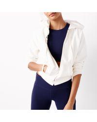 J.Crew | White Sport Cropped Zip Hoodie | Lyst