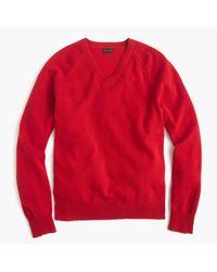 J.Crew | Red Lambswool V-neck Sweater for Men | Lyst