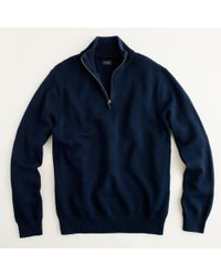 J.Crew   Blue Cotton-cashmere Half-zip Sweater for Men   Lyst