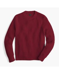 J.Crew - Red Cotton Thermal Heavyweight Sweater for Men - Lyst