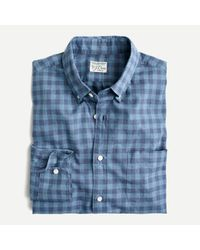 J.Crew Blue Slim Stretch Secret Wash Shirt In Organic Cotton Gingham for men