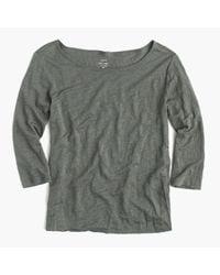 J.Crew   Green Linen Boatneck T-shirt   Lyst