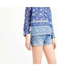 J.Crew Blue Tall Cotton Voile Popover Shirt In Floral Block Print