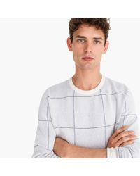 J.Crew - White Cotton-cashmere Two-color Crewneck Sweater In Windowpane for Men - Lyst