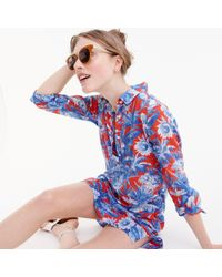J.Crew Blue Long-sleeve Popover Beach Shirt In Ratti Rio Floral