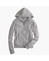 J.Crew - Gray Slim Brushed Fleece Zip Hoodie for Men - Lyst